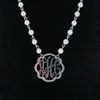 Pewter Flourish Monogram Gold and Pearl Necklace