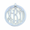 Pewter Medium Round Rimmed Monogram Pendant