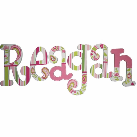 Peyton Pink Paisley Hand Painted Wall Letters
