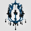 Phoebe Neon Blue Black Crystal Chandelier