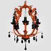Phoebe Neon Orange Black Crystal Chandelier