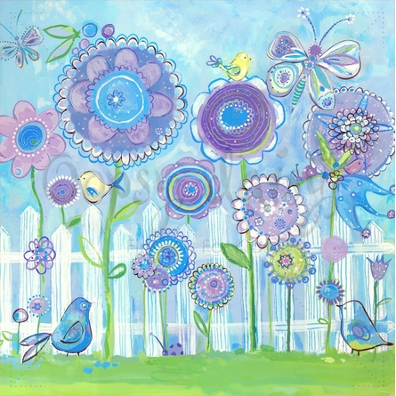 Picket Fence Flower Garden Canvas Wall Art