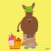 Picnic Donkey Canvas Wall Art