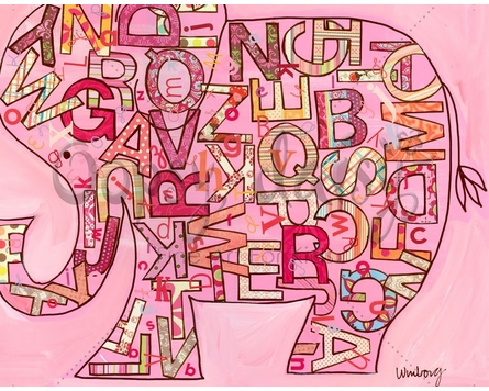 Pink Alphabet Elephant Canvas Wall Art
