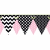 Pink and Black Patterned Pennant Border