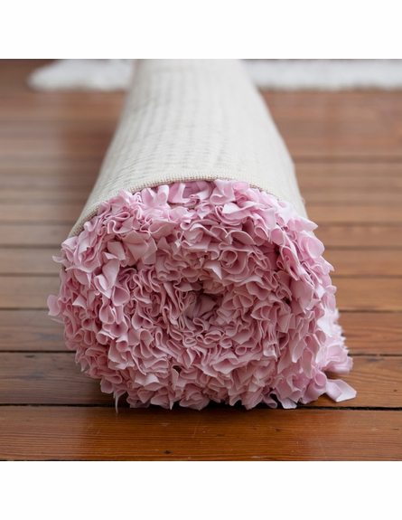 Pink and Brown Shaggy Raggy Rug