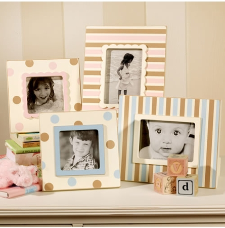 Pink and Brown Stripe Picture Frame