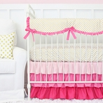 Pink and Gold Dot Ruffle Crib Bedding Set