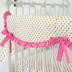 Pink and Gold Dot Ruffle Crib Rail Cover