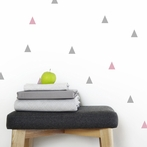 Pink and Gray Triangle Wall Decals