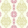 Pink and Green Damask Stripe Wallpaper