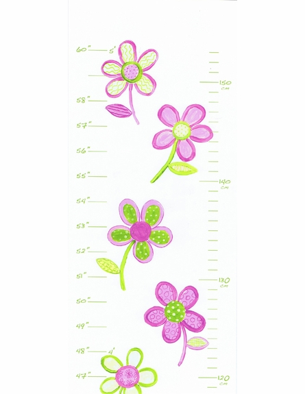 Pink and Green Floral Growth Chart