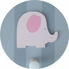 Pink and Grey Elephant Wall Peg - Set of Two