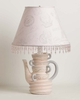 Pink And Grey Stacked Teacups Lamp With Paris Shade