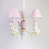Pink and Lime Bunny Three Arm Chandelier with Shades