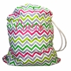 Pink and Lime Chevron Personalized Laundry Bag