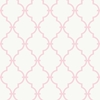Pink and White Modern Trellis Wallpaper