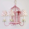 Pink Birdcage Five Arm Chandelier and Shades