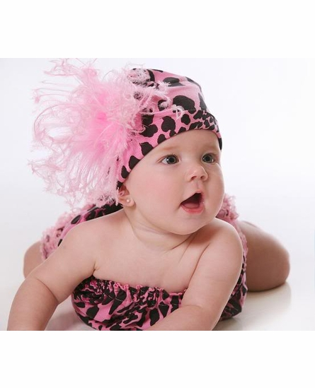 Pink Black Leopard Cotton Hat with Pink Curly Marabou