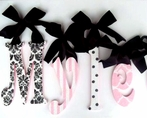 Pink & Black Patterned Glitter Wall Letters