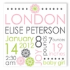 Pink Blooms Personalized Canvas Birth Announcement