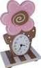 Pink & Brown Flower Table Clock
