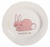 Pink Bunny on White Personalized Ceramic Dish Collection