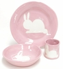 Pink Bunny Silhouette Personalized Ceramic Dish Collection
