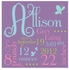 Pink Butterfly Dreams Personalized Canvas Birth Announcement