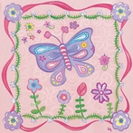 Pink Butterfly Garden Canvas Wall Art