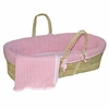 Pink Cable Knit Moses Basket Set