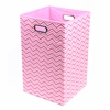 Pink Chevron Canvas Laundry Bin