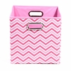 Pink Chevron Canvas Storage Bin