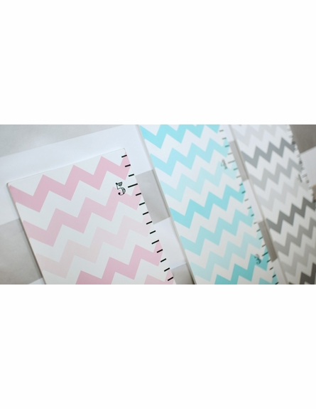 Pink Chevron Wooden Growth Chart