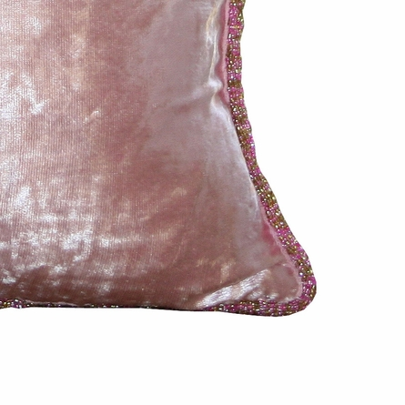 Pink Chic Velvet Beaded Throw Pillow