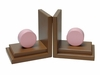Pink Circle Bookends with Chocolate Base