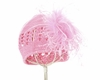 Pink Crochet Hat with Pale Pink Curly Marabou