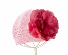 Pink Crochet Hat with Red Rose