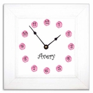 Pink Dot Wall Clock with Wide Frame