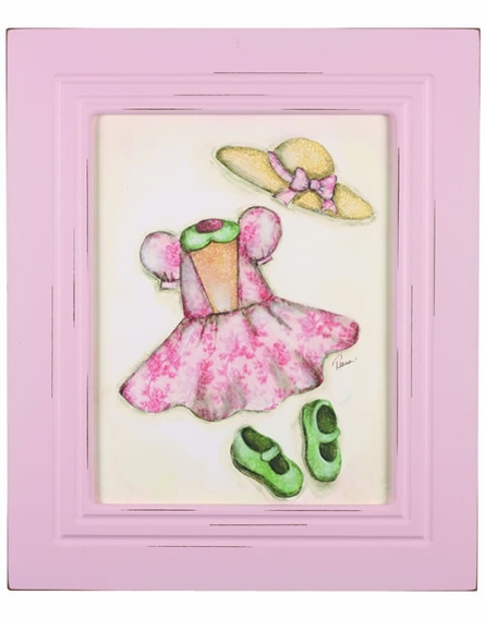 Pink Dress Weathered Frame Art
