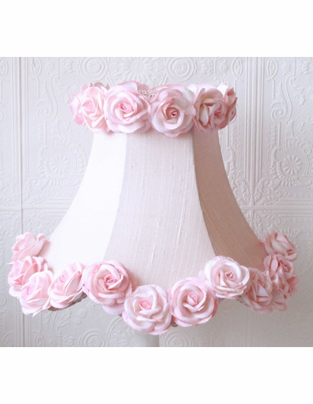 Pink Dupioni Silk and Roses Table Lamp