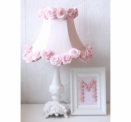 Pink Dupioni Silk Lamp Shade with Roses