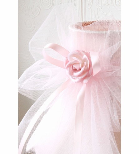 Pink Dupioni Silk Lamp Shade with Tulle Bow