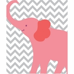 Pink Elephant Chevron Canvas Wall Art