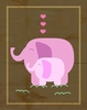 Pink Elephant Love Canvas Wall Art