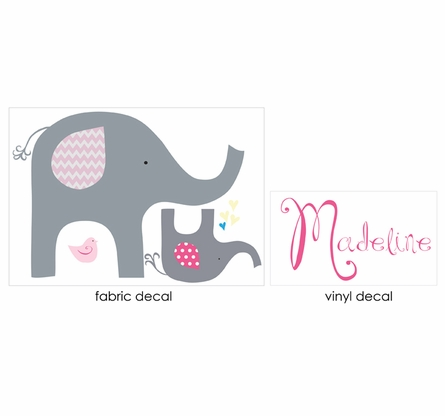Pink Elephant Love Fabric Wall Decal