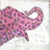 Pink Elephant Small Vintage Art Print on Wood