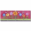 Pink Floral Wall Plaques - Set of 4