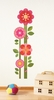 Pink Flower Growth Chart Fabric Wall Decal
