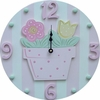 Pink Flower Pot Wall Clock